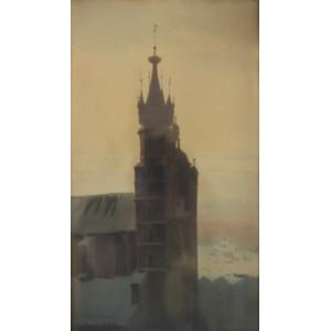 """Fabijański Stanisław Ignacy Poraj (1865-1947) """"Wieża kościoła Mariackiego w Warszawie"""""""