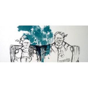 """Angelina Orlicka,  """"Małżeństwo"""", Litografia, 42x32 cm"""