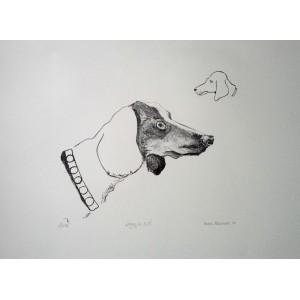 """Sandra Malczewska,  """"Psiak"""", Litografia, 35x47 cm"""
