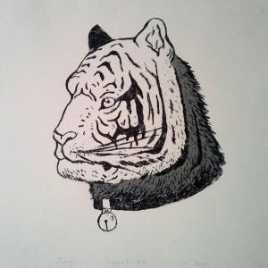 """Piotr Kowal, """"Tygrys"""", Litografia, 25x27 cm"""