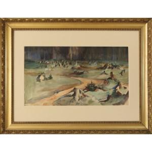 "Fałat  Julian (1853-1929)  ""Pejzaż leśny"""